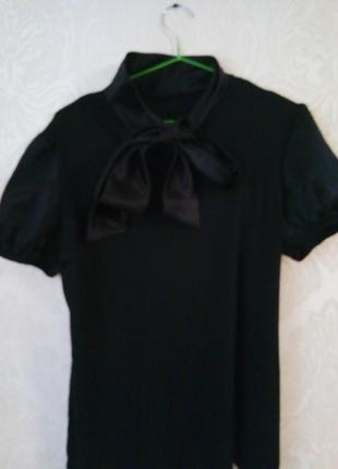 Стильная яркая футболка, атлас, комбинированная, фонарик рукав