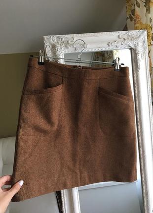 Теплая юбка из шерсти с замшевыми вставками
