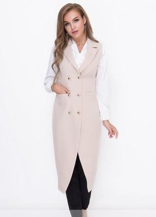 Двубортный кардиган-жилетка-пиджак размеры 42,44,46,48  (8590)