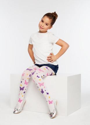 """Капроновые колготки для девочки """"разноцветные бабочки"""" 50den"""
