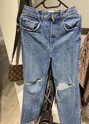 Шикарные широкие джинсы клёш с разрывами zara 20216 фото