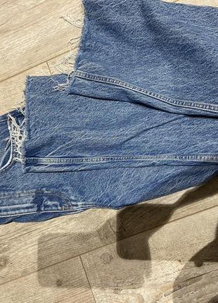 Шикарные широкие джинсы клёш с разрывами zara 20218 фото