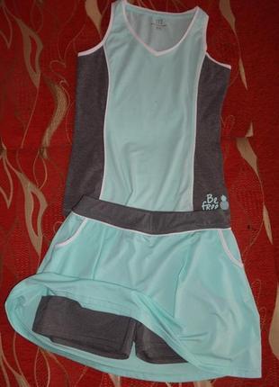 Женские спортивные костюмчики (испания) юбка-шорты и футболки