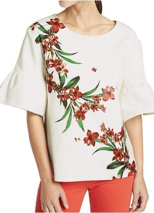 Белая блузка с цветочным принтом хлопок marks&spencer