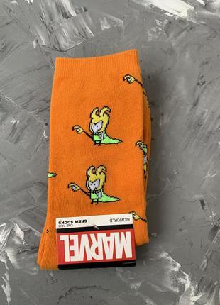 Носки цветные носочки с принтом marvel локи оранжевые мужские женские высокие