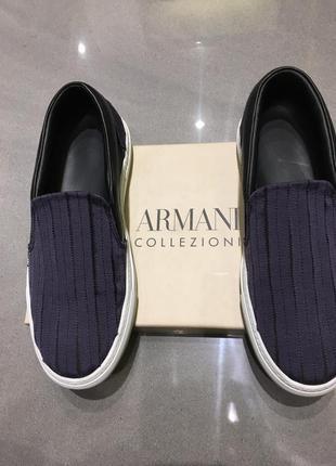 Ультра модные кожаные слипоны armani collezioni