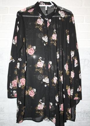 Шикарная прозрачная ,удлиненная рубашка с ассиметричным низом!