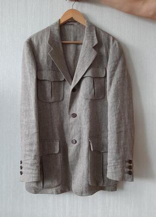 Пиджак льняной в елочку  baldessarini италия  р 48