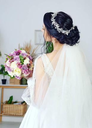 Свадебный венок, веночек, веточка в прическу, украшение в прическу, ручная работа👰