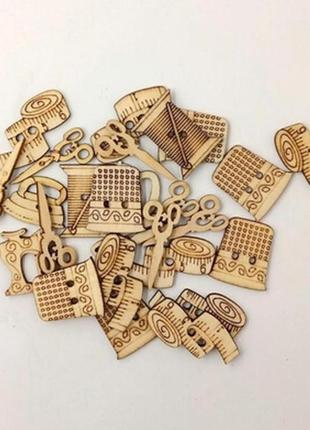 🌿 набор ( в наборе 25 шт) деревянных элементов для рукоделия, декора и скрапбукинга🌿.