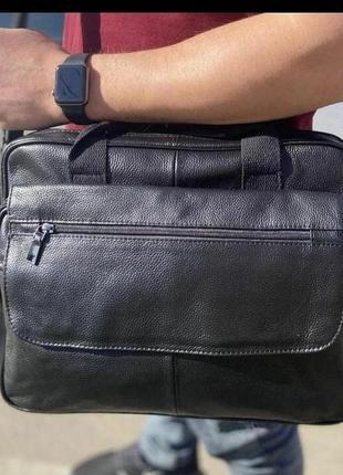 Вместительная кожаная сумка для ноутбука и документов, портфель✔️отличное качество