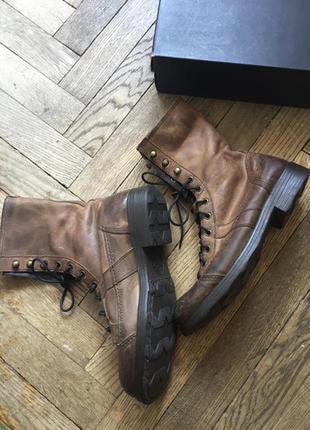 Ботинки итальянские на шнуровке, кожа