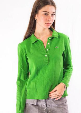 Поло женское с длинным рукавом зеленое lacoste (42) (l)