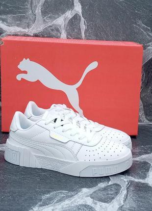 Белые кроссовки puma cali кожаные,женские