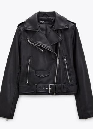 Байкерская куртка (косуха) zara из еко кожи