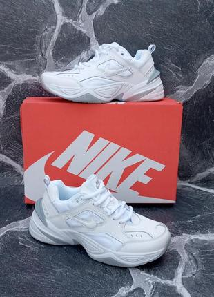 Белые кроссовки nike m2k tekno кожаные,женские