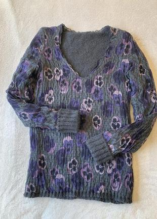Дизайнерская двухсторонняя блуза, джемпер, свитер, шерстяной, шелк, шерсть miss sixty
