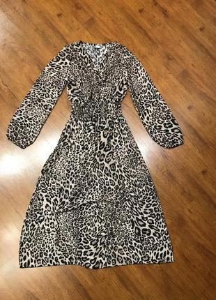 Платье шифоновое леопардовый принт