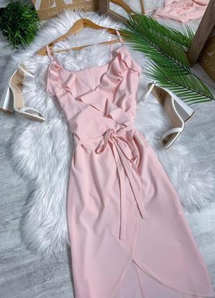 Легкое платье мили сарафан с рюшами и воланами под пояс