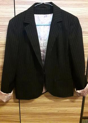 🌞 пиджак жакет черный в полоску