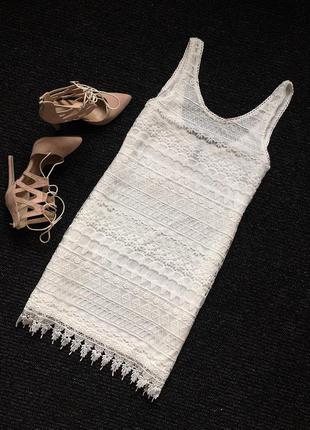 Белое кружевное платье h&m