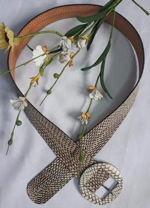 Брендовый кожаный ремень  из кожи  кобры reptile's house italy(98 см на 5 см)