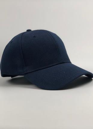 Кепка бейсболка мужская женская style однотонная темно-синяя
