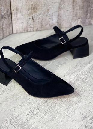 Туфли с открытой пяткой замша