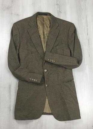 F0 пиджак приталенный клетчатый в клетку коричневый шерстяной винтажный m&s