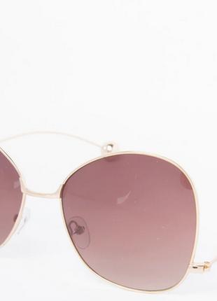 Солнцезащитные очки золотистые  цвет линз: коричневый