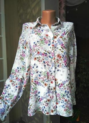 Вискозная цветочная блузка рубашка
