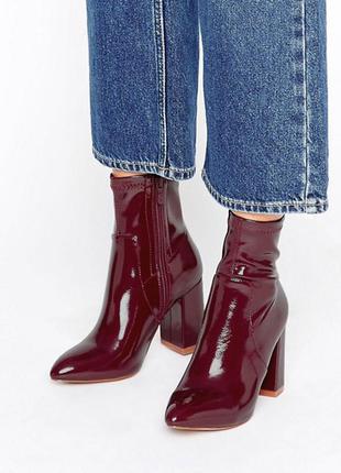 Бордовые лаковые ботинки public desire,р-р 39