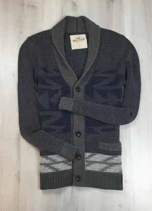 F7 кардиган вязаный темно-серый hollister холлистер кофта свитер пуловер джемпер