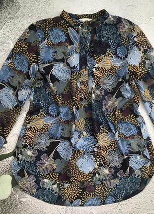 Модная блуза туника из креп шифона, удлиненная спинка, h&m. s m