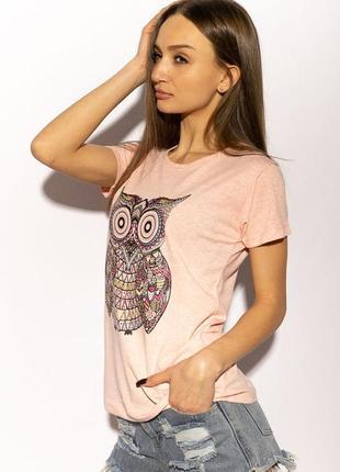 Розовая женская футболка с принтом сова 🦉