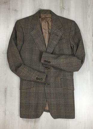 F0 пиджак приталенный темно-коричневый клетчатый в клетку шерстяной винтажный centaur