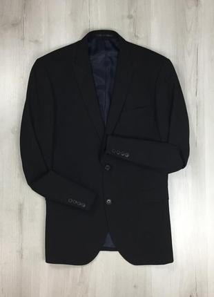 F0 пиджак приталенный темный черный темно-синий next некст