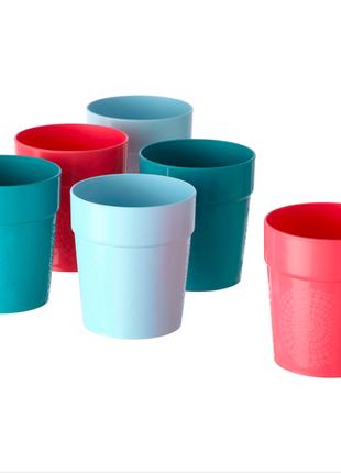 Стаканы, разные цвета, 29 сл. в наборе 6 шт