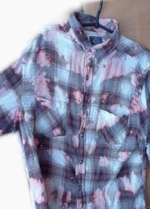 Рубашка винтажная в клетку теплая