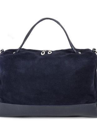 Синяя замшевая большая женская сумка шоппер с ремешком на плечо