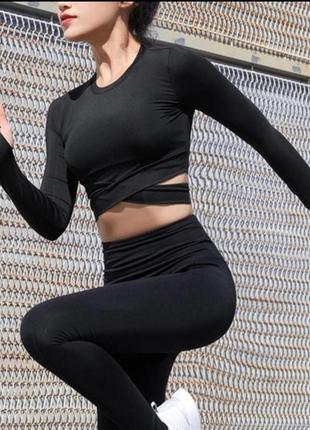 Спортивный топ с длинными рукавами для фитнеса, спортзала йоги basic