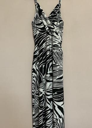 Длинное платье в пол принт зебра