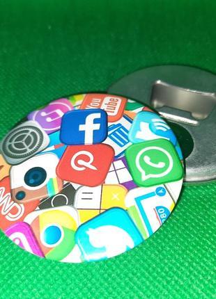 Круглая открывашка на магните для знатоков и зависимых от социальных сетей