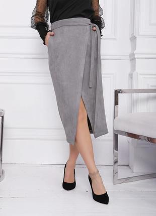 Фото реал!сіра, беж, черная юбка на запах s m l/ міді чорна юбка замш на запах