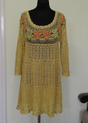 Платье связанное крючком, ручная работа,100% хлопок