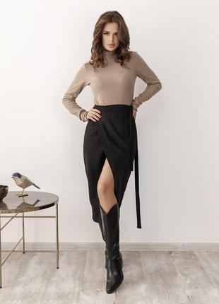 Фото реал! черная юбка на запах є розміри/ міді чорна юбка замш на запах