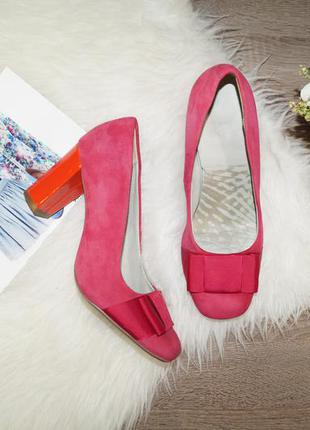 (39р./25,5см) clarks! замша! красивые яркие туфли в классическом стиле