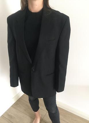 Пиджак базовый блейзер черный большой размер натуральная ткань