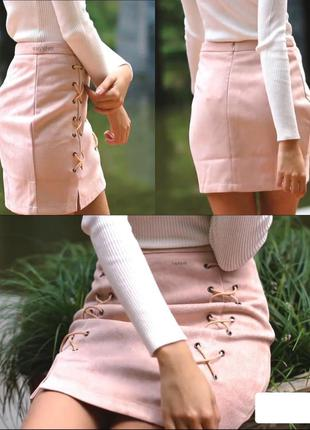 Замшевая юбка на шнуровке. юбка с высокой талией. юбка трапеция
