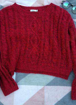 Стильный укороченый красный свитер!